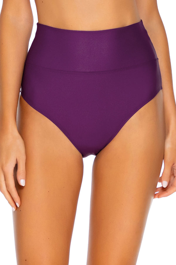 Sunsets Deep Plum Hannah High Waist Bottom