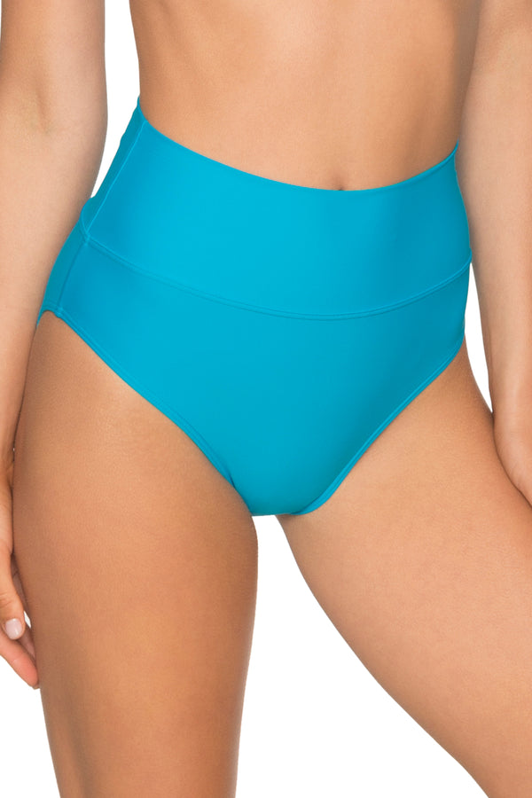 Sunsets Poolside Blue Fold Over High Waist Bottom