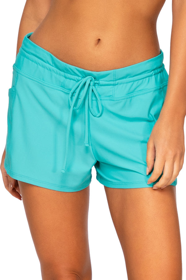 Sunsets Escape Seaside Aqua Laguna Swim Short Bottom