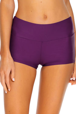 Sunsets Deep Plum Seascape Swim Short Bottom