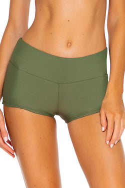 Sunsets Olive Seascape Swim Short Bottom