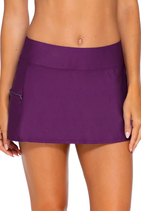 Sunsets Deep Plum Sporty Swim Skirt Bottom
