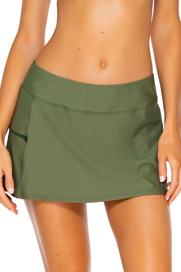 Sunsets Olive Sporty Swim Skirt Bottom