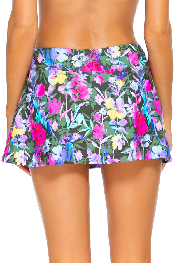 Sunsets Pansy Fields Sporty Swim Skirt Bottom