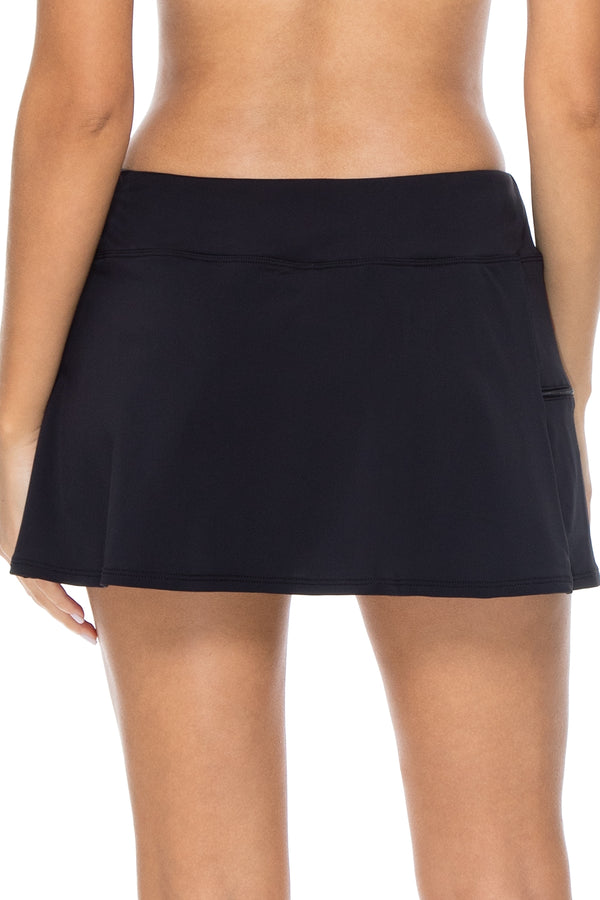 Sunsets Black Sporty Swim Skirt Bottom