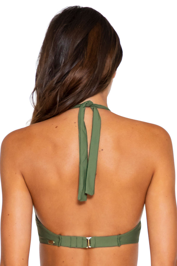 Sunsets Olive Muse D-H Cup Halter Top