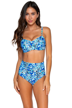 Sunsets Bay Blues Iconic Twist D-H Cup Bandeau Top