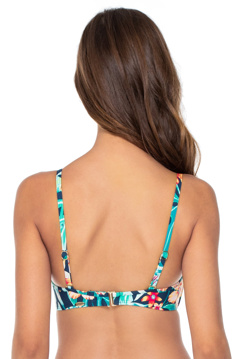 Sunsets Hibiscus Hide Away Iconic Twist Underwire D-H Cup Bandeau Top