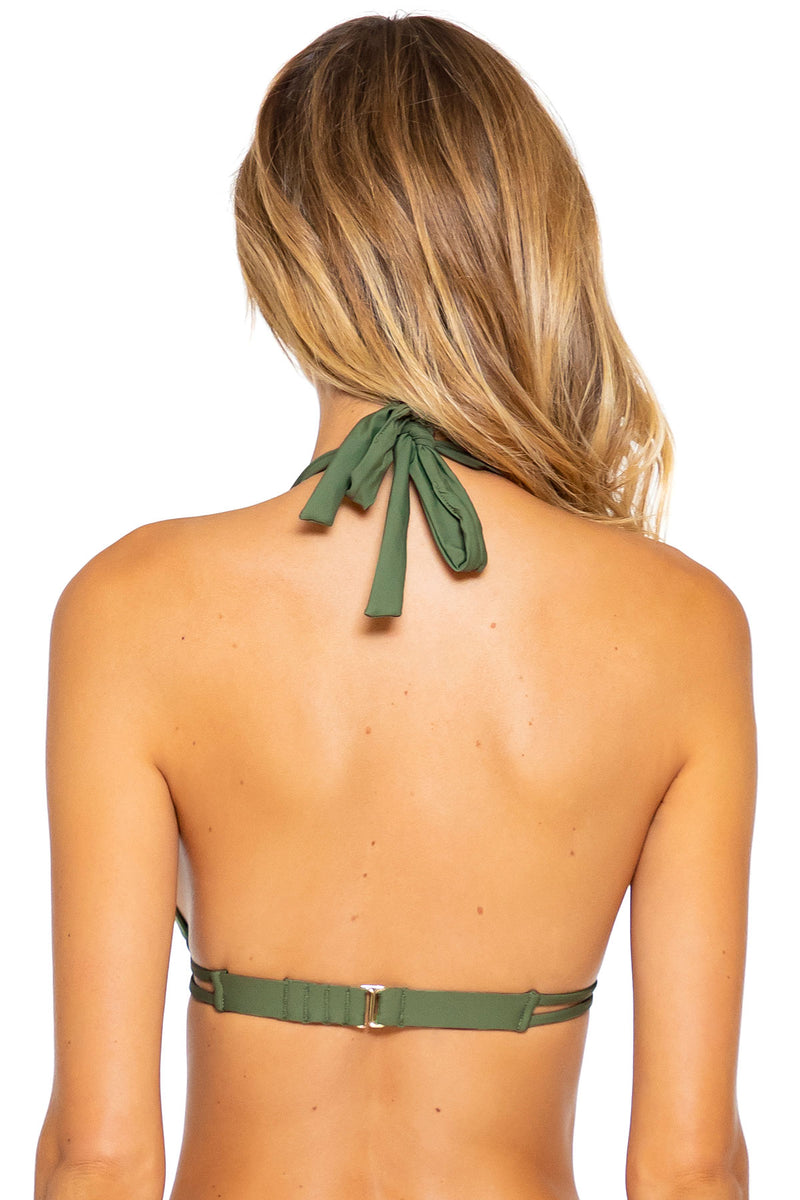 Sunsets Olive Marilyn Halter Top