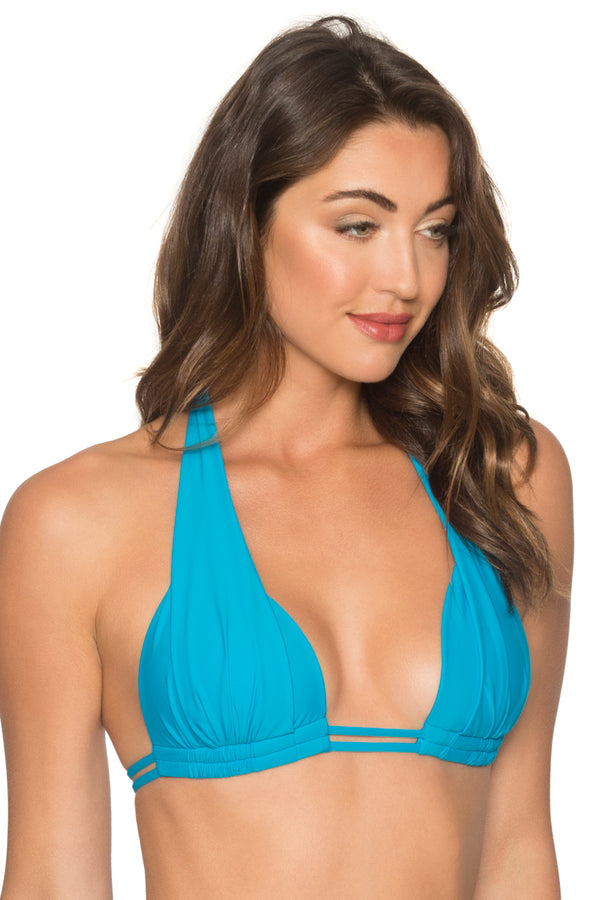 Sunsets Poolside Blue Marilyn Halter Top