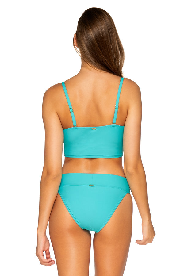 Sunsets Seaside Aqua Waverly Bandeau Top