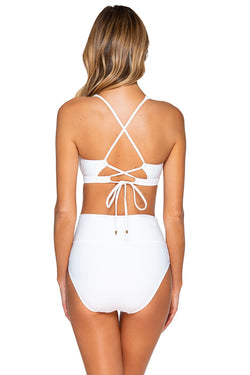 Sunsets White Hannah High Waist Bottom