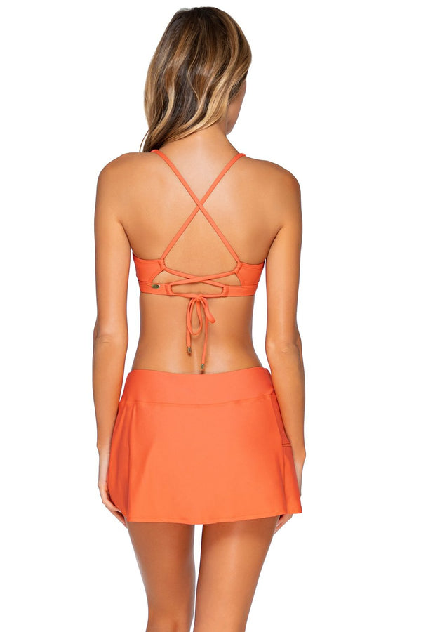 Sunsets Tropical Coral Sporty Swim Skirt Botom