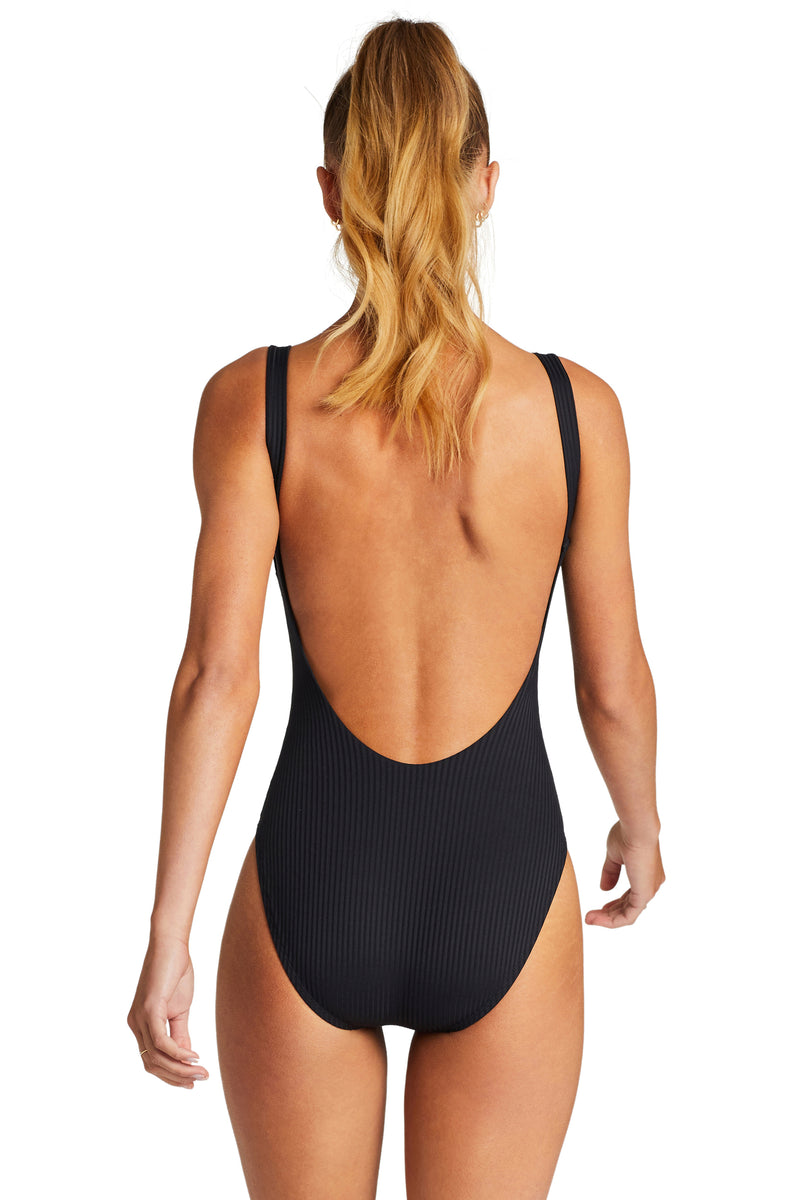 Vitamin A Black EcoRib Leah Bodysuit Full Back Coverage