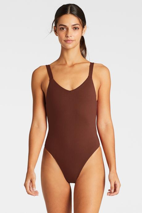Vitamin A Vintage Brown EcoRib Leah Bodysuit One Piece