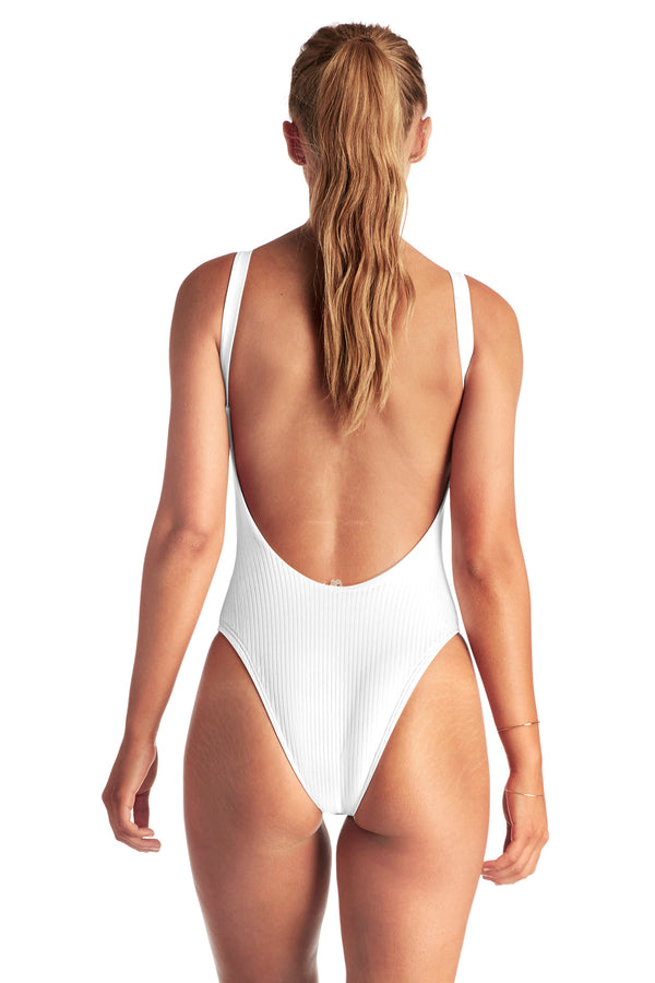 Vitamin A White EcoRib Leah Bodysuit One Piece