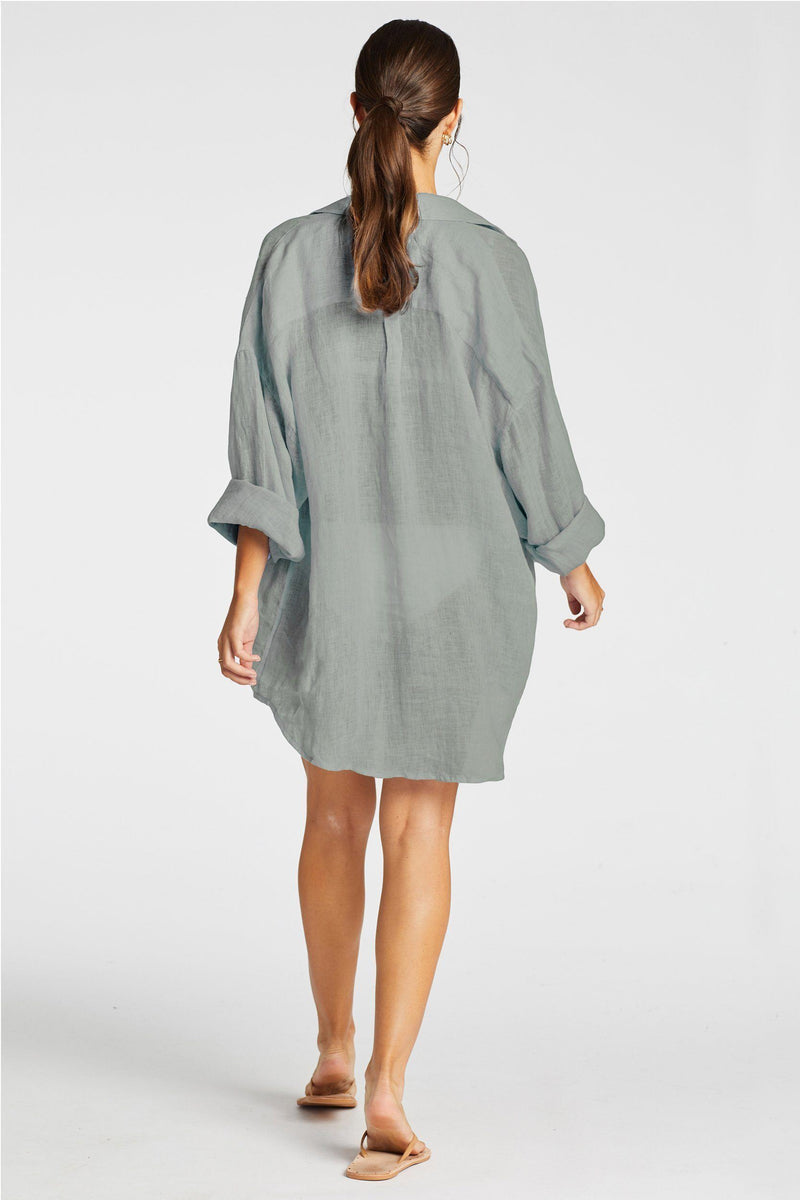 Vitamin A Sea Green EcoLinen Playa Shirt Dress