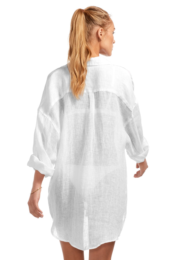 Vitamin A Eco Linen White Playa Shirt Dress