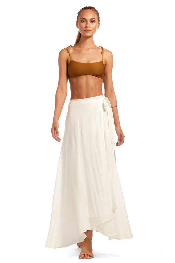 Vitamin A Natural EcoLinen Postiano Wrap Skirt