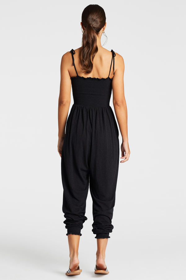 Vitamin A Swimwear | Black EcoCotton Moonlight Jumpsuit