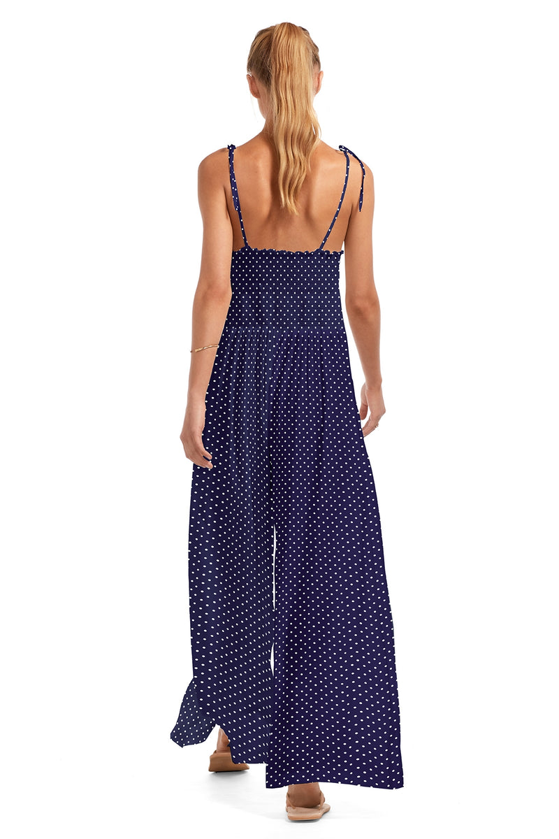 Vitamin A Rumba Dots Deep Blue Eco Muslin Jules Jumpsuit