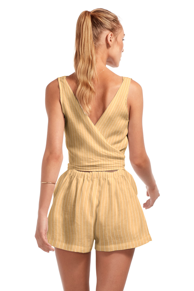 Vitamin A EcoLinen™ Dorada Stripes Martinique Romper