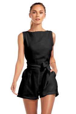 Vitamin A Black EcoLinen Martinique Romper