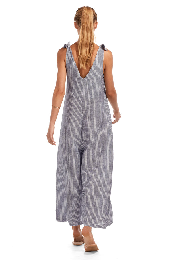 Vitamin A EcoLinen Stripes Deep Blue Marina Jumpsuit