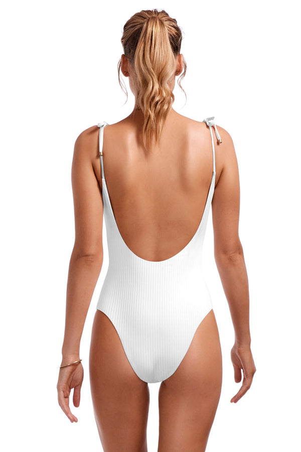 Vitamin A White EcoRib™ Valentina Bodysuit One-Piece