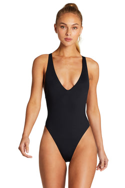 Vitamin A Black EcoLux™ Alana Bodysuit Full Back Coverage