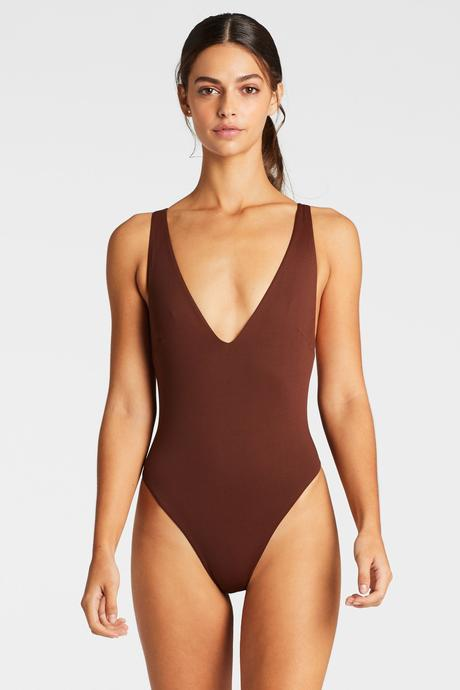 Vitamin A Vintage Brown EcoLux Alana Full Bodysuit One Piece