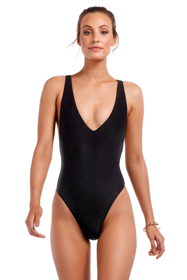 Vitamin A Black BioRib™ Alana Bodysuit Full One Piece