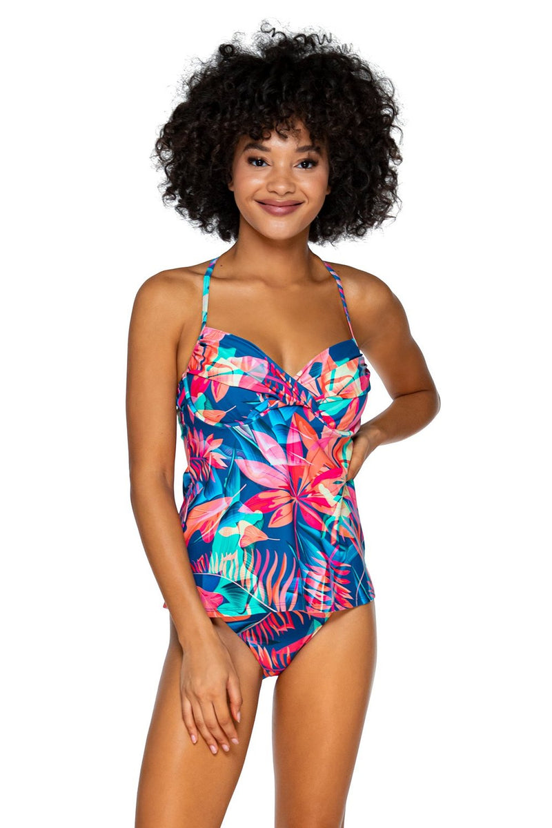 Swim Systems Tropical Punch Crossroad D/DD cup Tankini Top