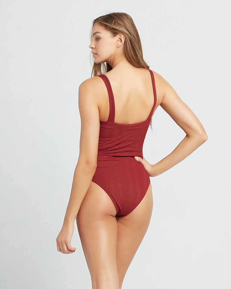 LSpace Sangria Pointelle Rib Cha Cha One Piece Swimsuit