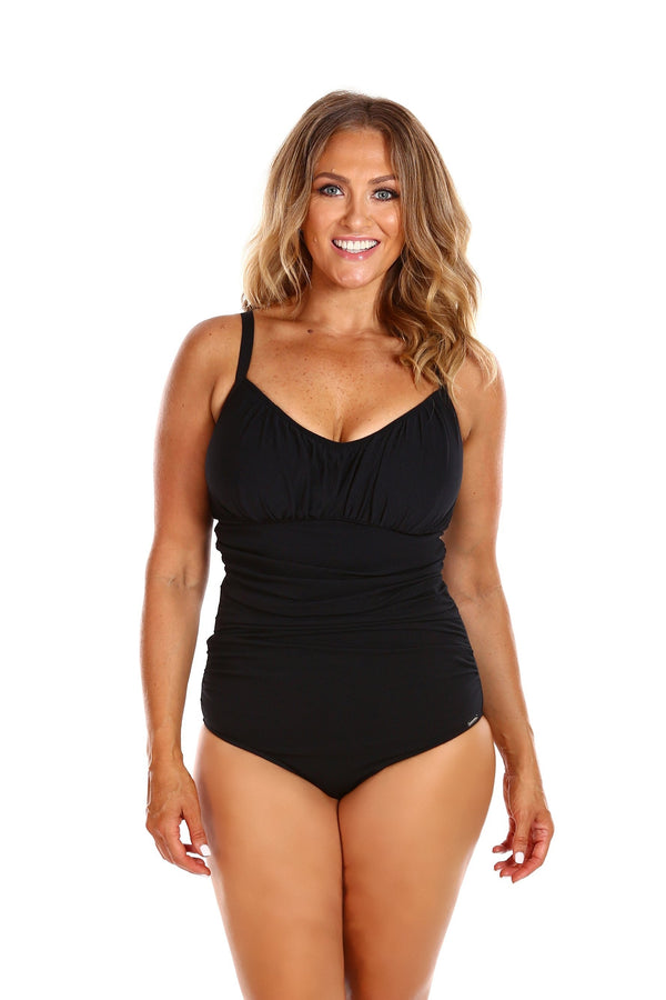 Capriosca Black Honey Comb Underwire D-H Cup One Piece