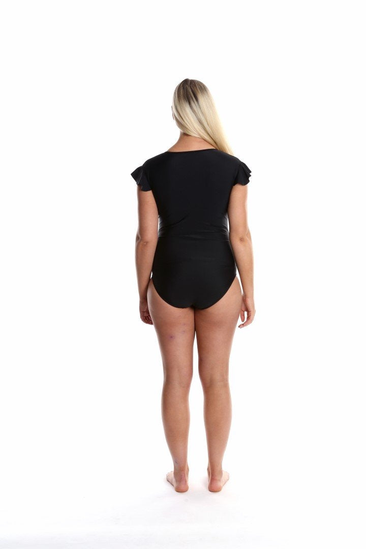 Capriosca Its All About Black Zip Front One Piece