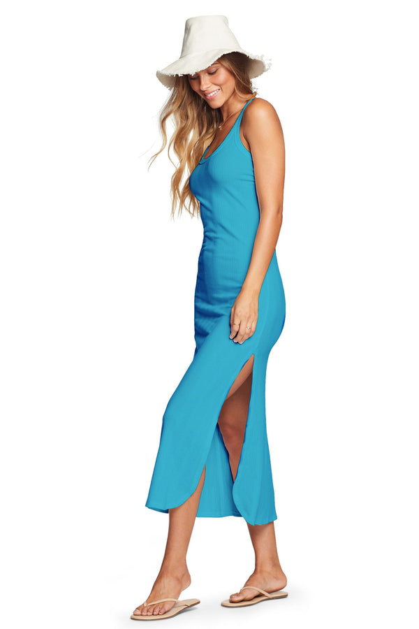 Vitamin A Cerulean Blue Organic Rib West Dress