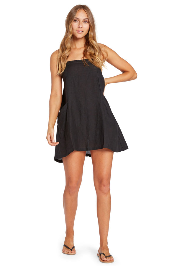 Vitamin A Black EcoLinen Nola Mini Dress