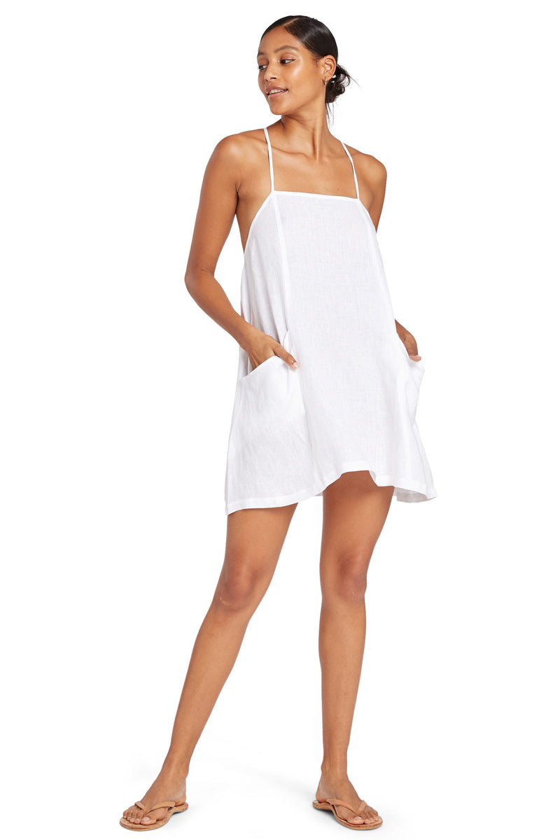 Vitamin A White EcoLinen Nola Mini Dress
