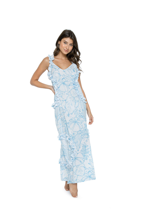 PilyQ Beachbreak Ruffle Long Dress