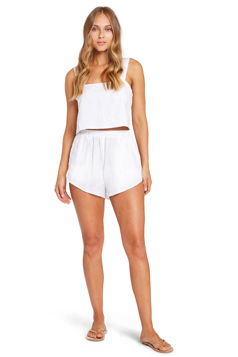 Vitamin A White EcoLinen Tallows Crop Top