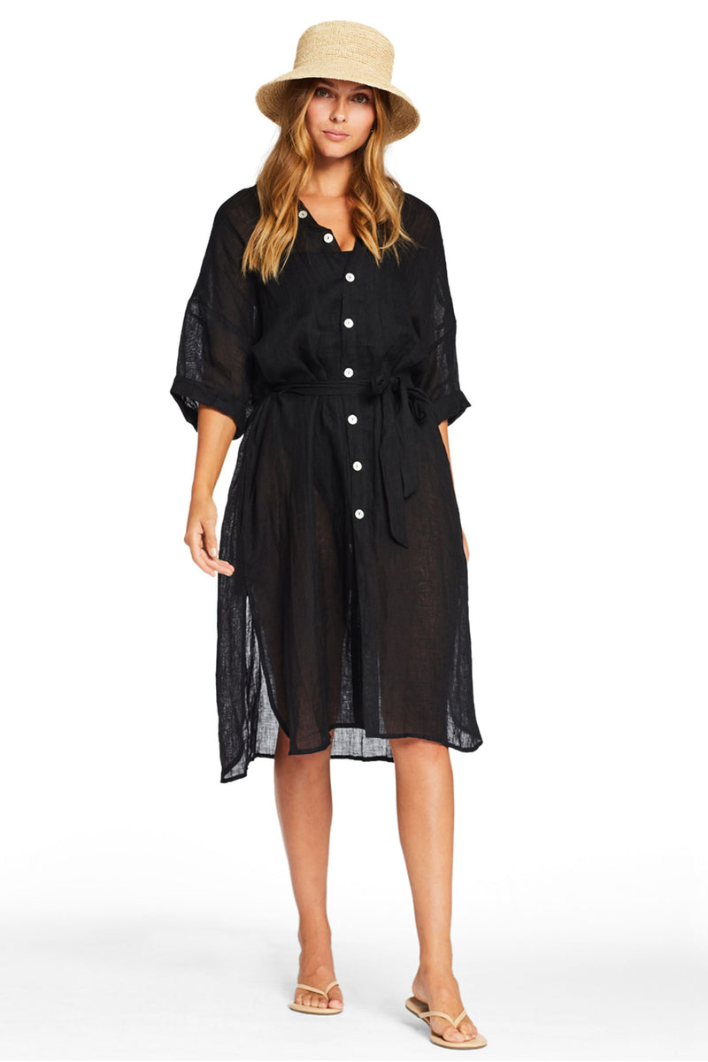 Vitamin A Ecolinen Gauze Black Playa Dress