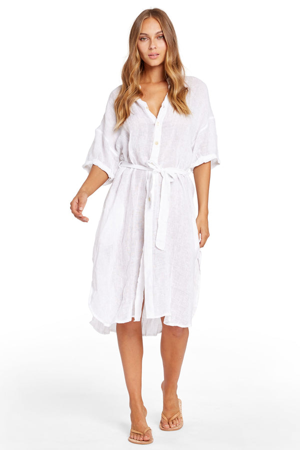 Vitamin A Ecolinen Gauze White Playa Dress