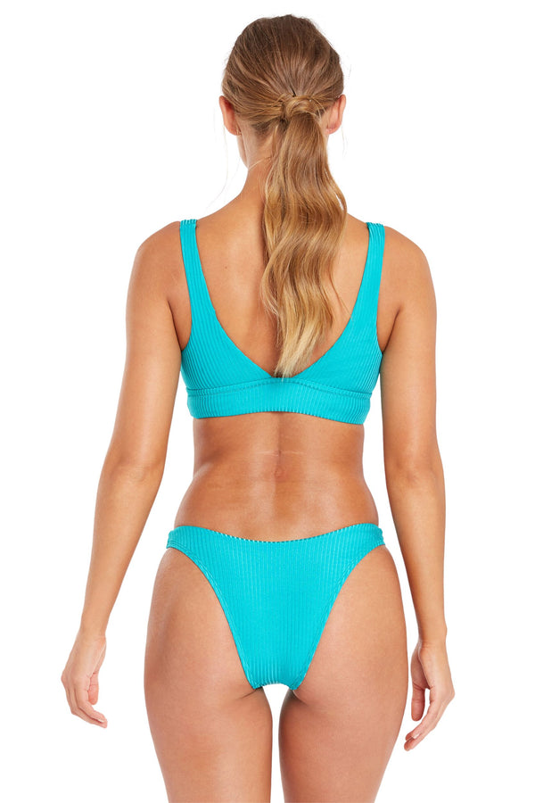 Vitamin A Turquoise Shimmer EcoRib California High Leg Bottom