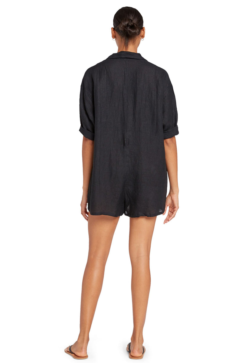 Vitamin A Black EcoLinen Playa Romper