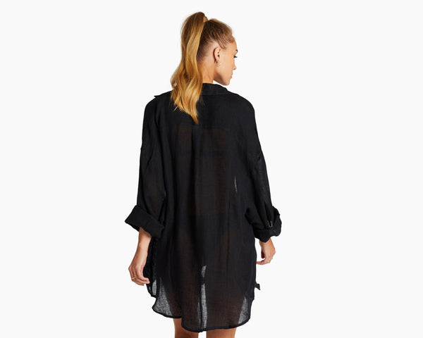 Vitamin A Ecolinen Gauze Black Playa Shirt Dress