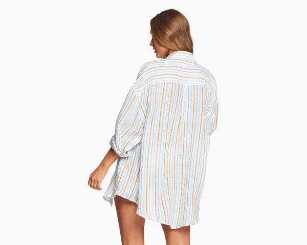 Vitamin A Palm Springs Stripe EcoLinen Playa Shirt Dress