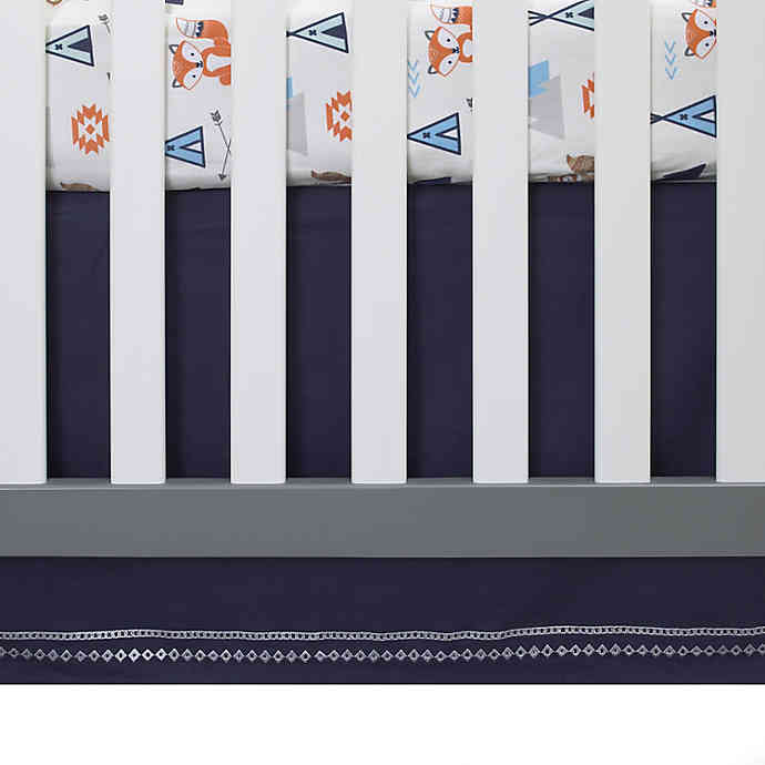 NoJo® Aztec Mix And Match Embroidered Crib Skirt - Navy- Limited to 1 per customer