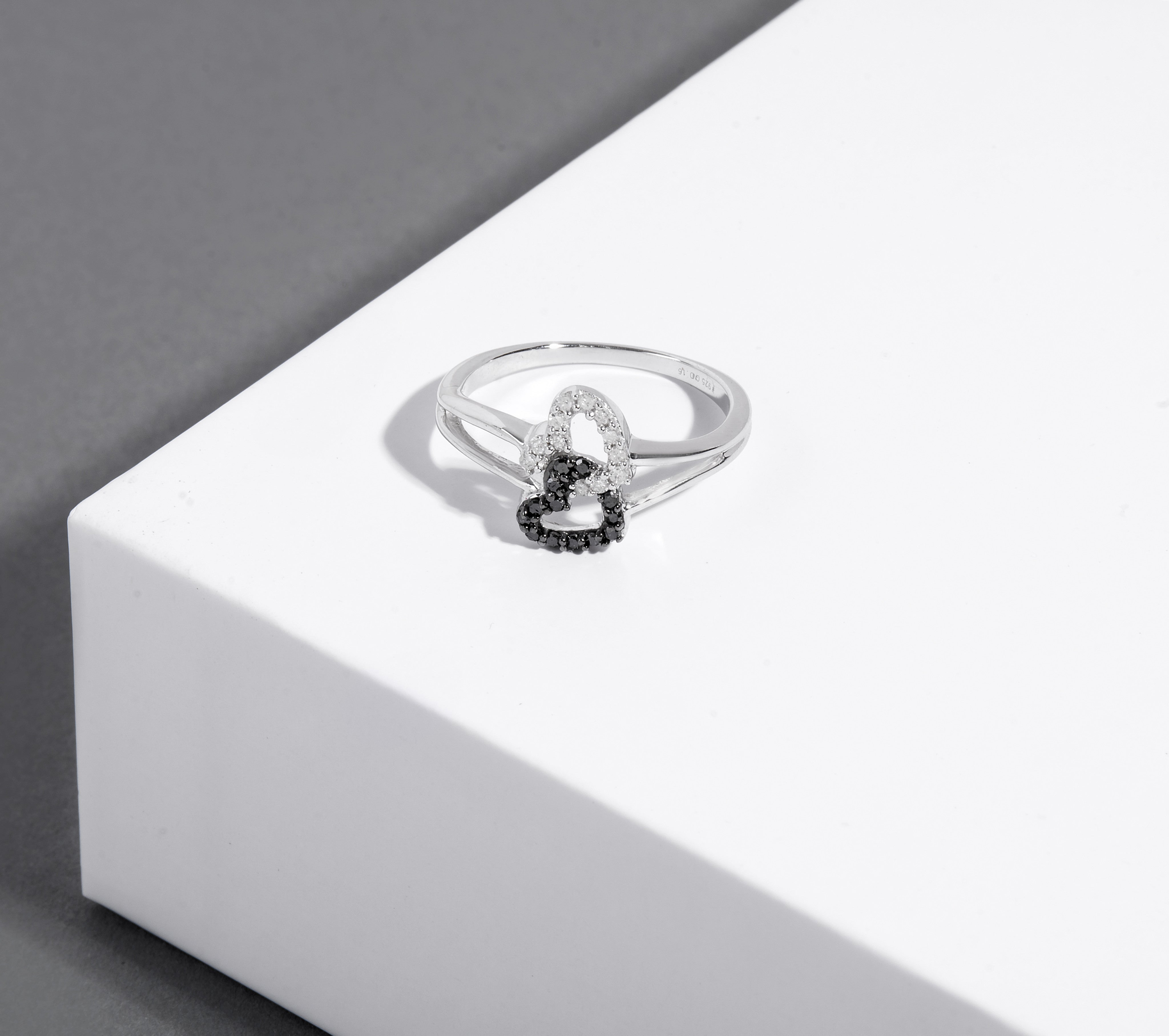 925 Silver Diamond Double Heart Ring Includes 25 Diamonds