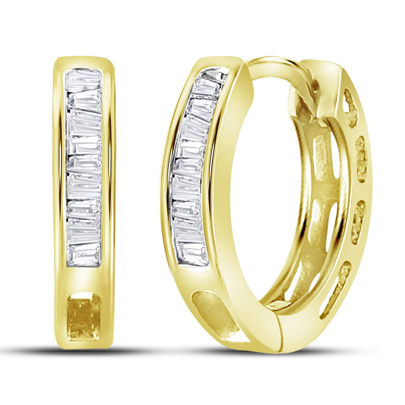 Yellow-tone Sterling Silver Women's Baguette Diamond Huggie Earrings 1/6 Cttw